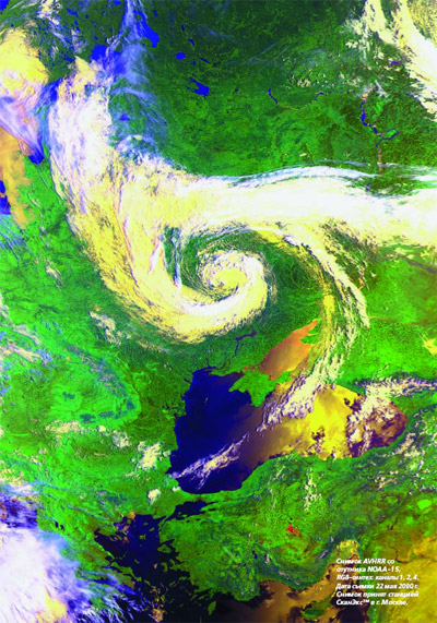 AVHRR image from NOAA-14. RGB composite (channels 2:1:5), Date of acquisition: 22 May, 2000 (Image Crdit: ScanEx)